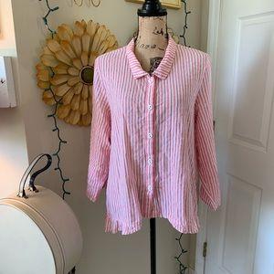 Tops - Striped plus size button down shirt sz 2X